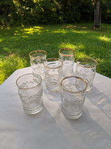 1930 to1940s acid etched floral clear glassware tumblers with gilt edge