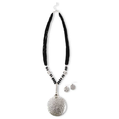 Black Thread Necklace & Earring Set
