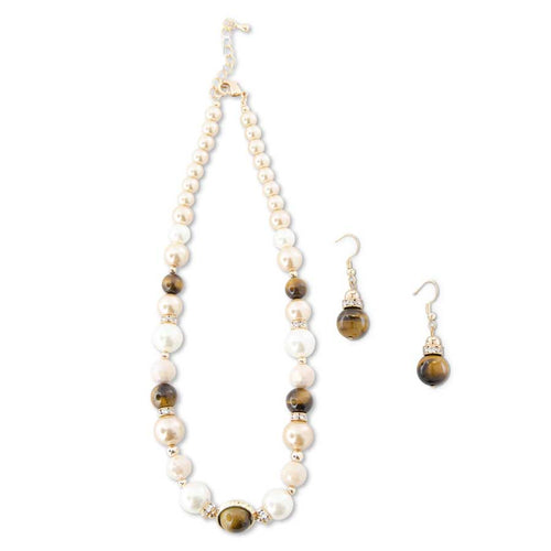 Pearl and Cat's-eye Bead Necklace and Earring Set