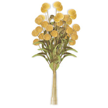 Load image into Gallery viewer, Yellow Pompom Pick w/Green Eva Leaves Bundle (6 Stems)