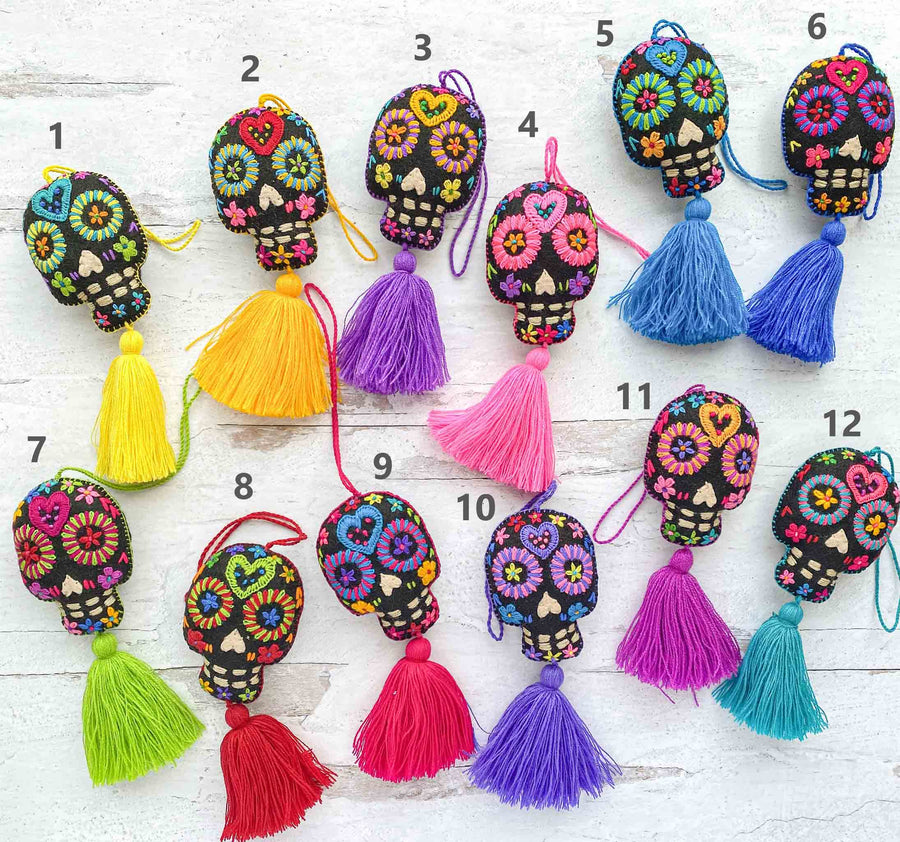 Hand-Embroidered-Sugar-Skull-Tassels--in-Black
