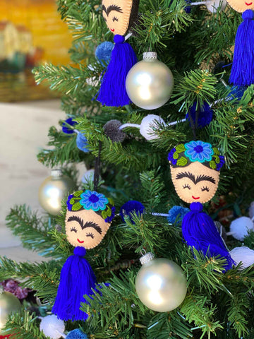 Blue Frida Tassel Ornaments