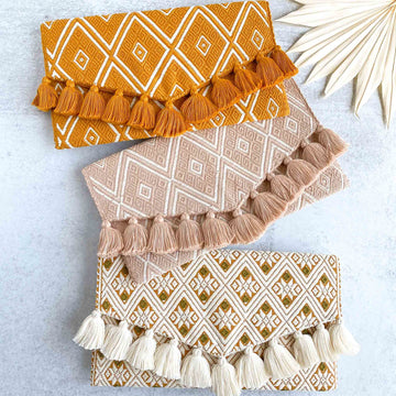 Geometric Embroidered Clutch Purses