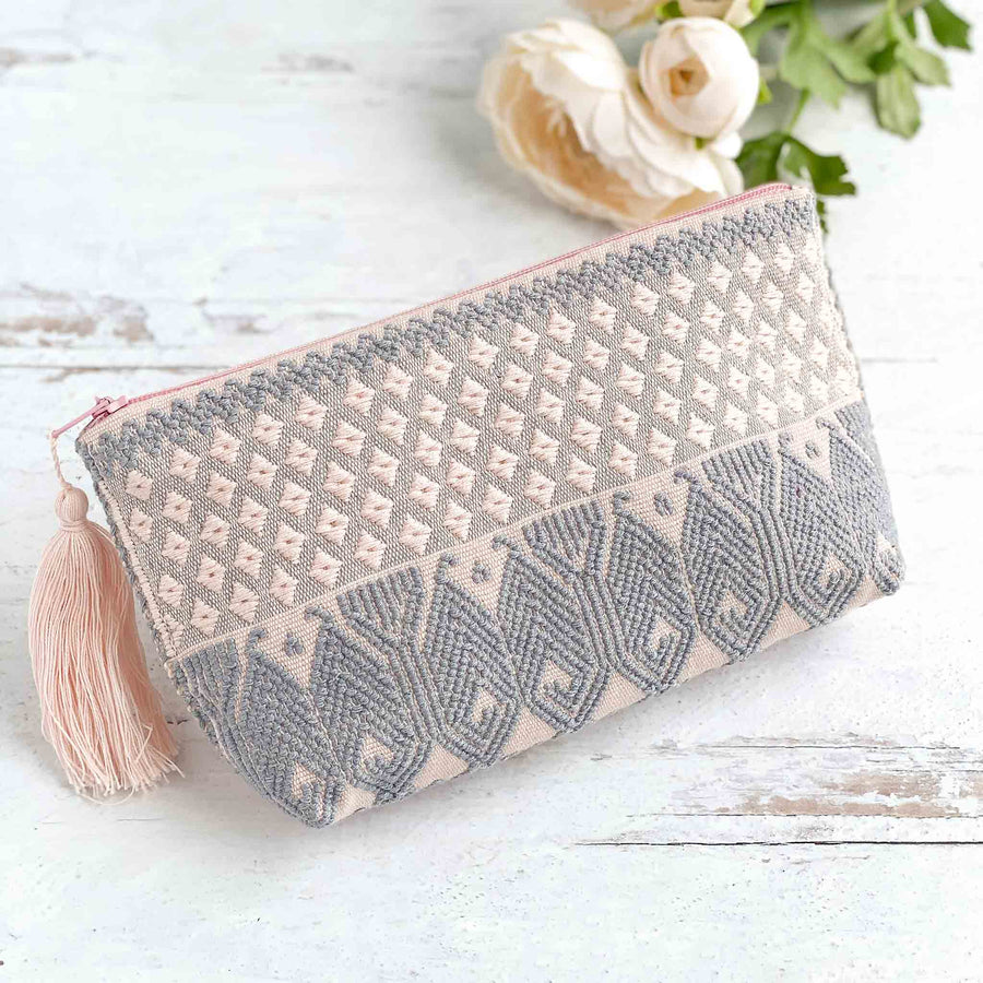 Handwoven Zipper Pouch - Pink + Steel Blue
