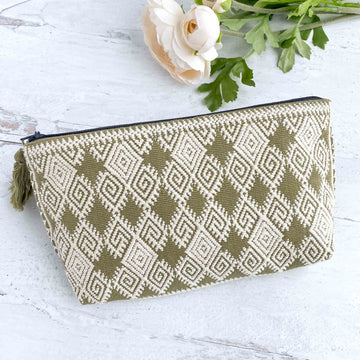 Handwoven Zipper Pouch - Olive