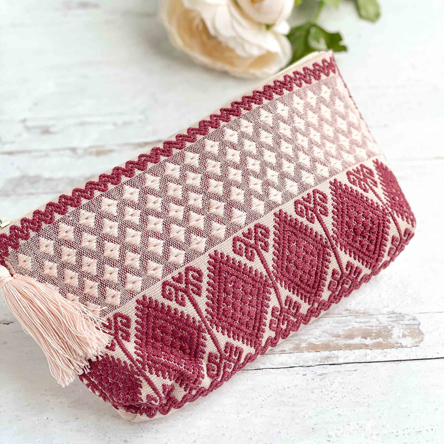 Handwoven Zipper Pouch - Rose/Red
