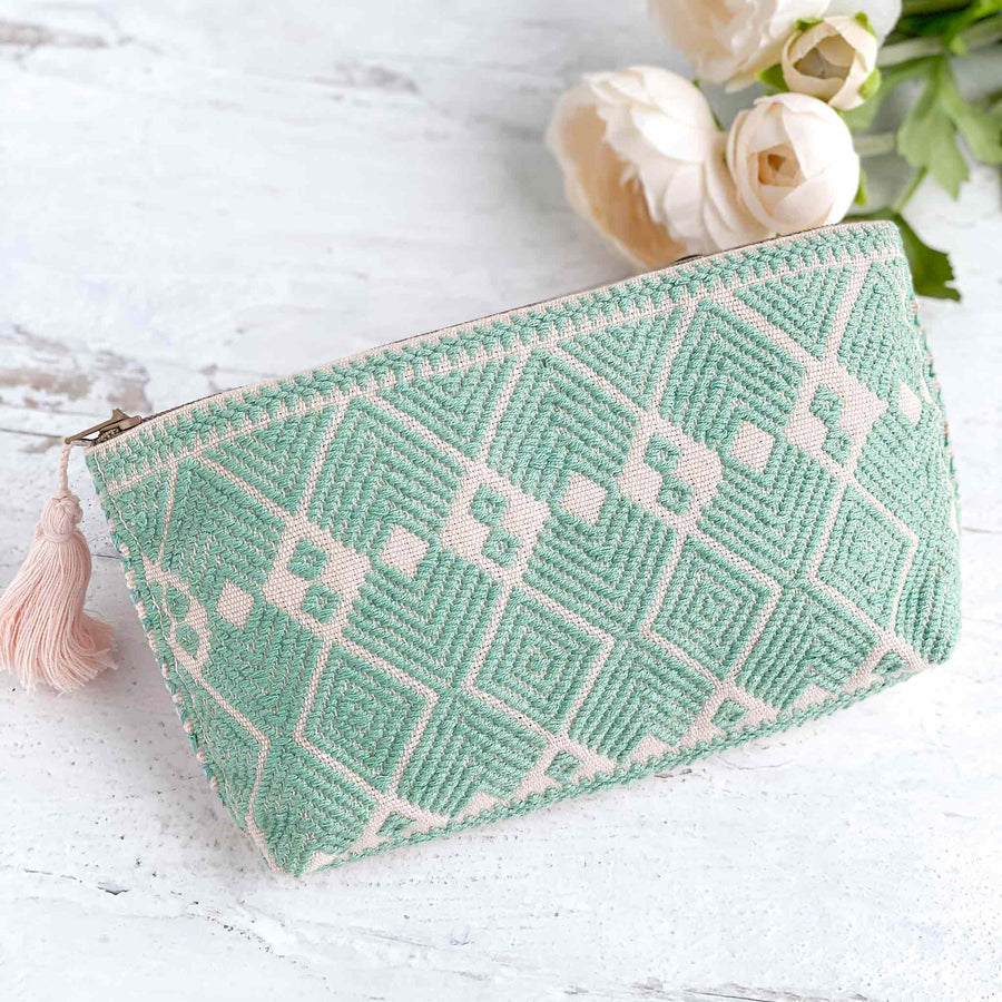 Handwoven Zipper Pouch - Sea Green