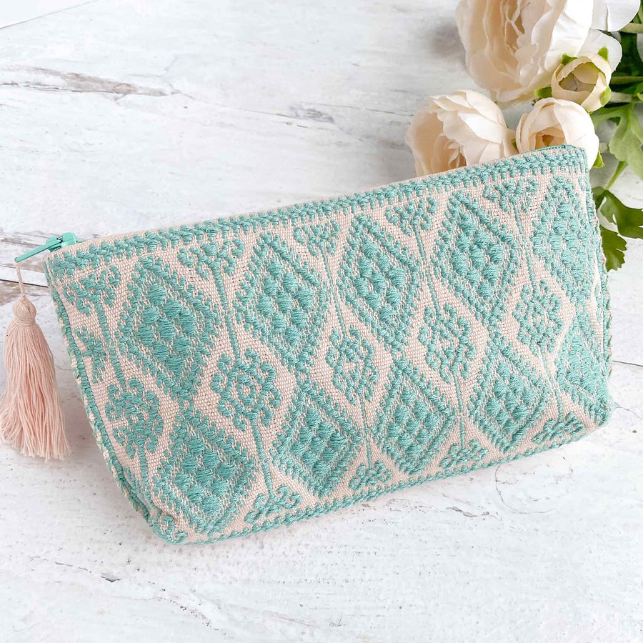 Handwoven Zipper Pouch - Turquoise + Light Pink