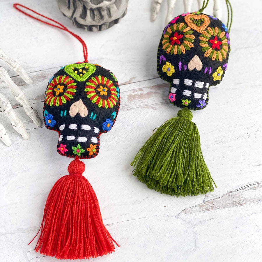 Fall Sugar Skull Embroidered Tassels - Black