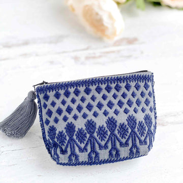 Handwoven Coin Purse with Tassel - Slate Gray