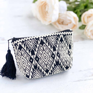 Handwoven Coin Purse with Tassel - Black