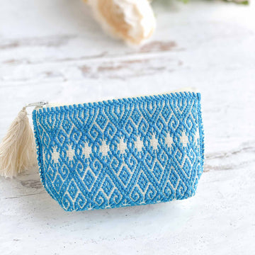Handwoven Coin Purse with Tassel - Cerulean Blue