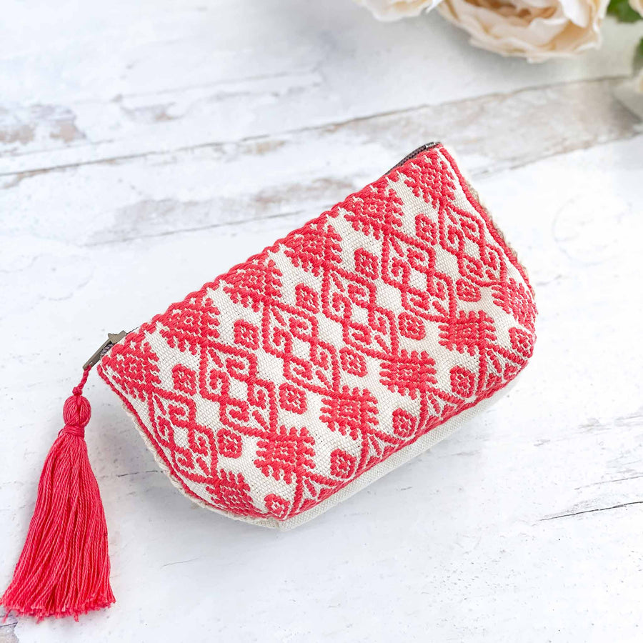 Handwoven Coin Purse with Tassel - Coral