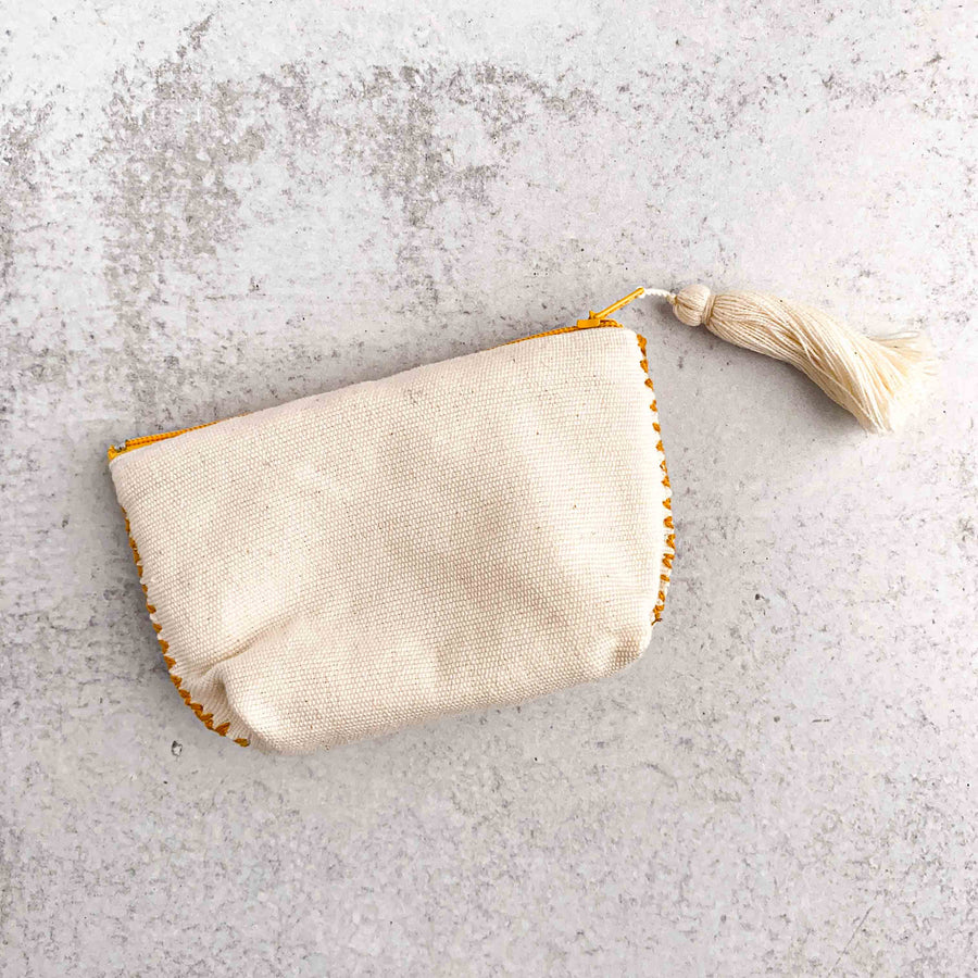 Handwoven Coin Purse with Tassel - Dark Goldenrod