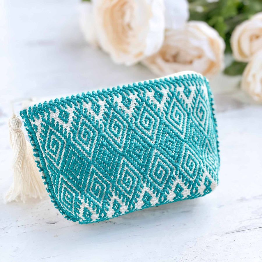 Handwoven Coin Purse with Tassel - Turquoise