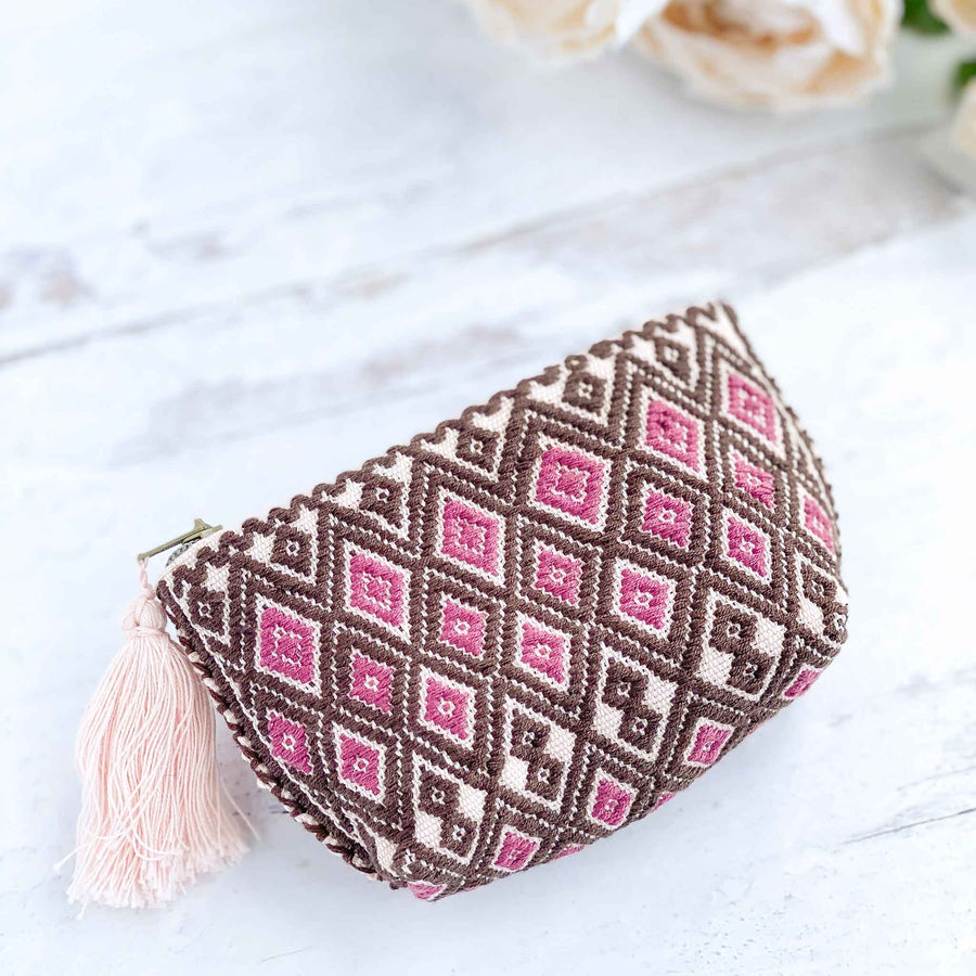 Handwoven Coin Purse with Tassel - Rose/Olive