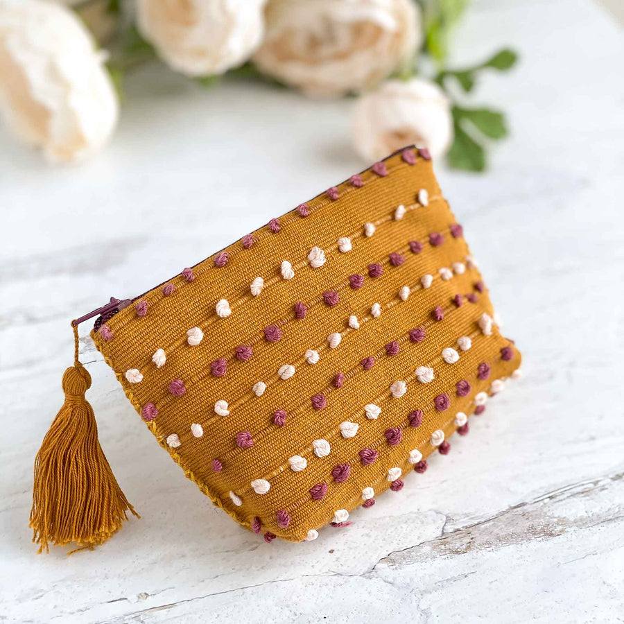 Handwoven Coin Purse with Tassel - Mustard Yellow