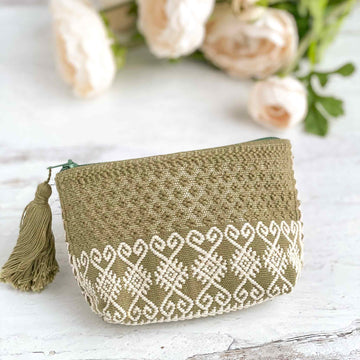 Handwoven Coin Purse with Tassel - Olive