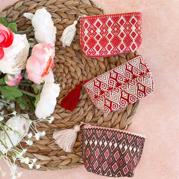 Handwoven Pink Coin Purses with Tassel