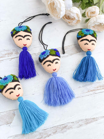aerial view of embroidered frida tassels in blue