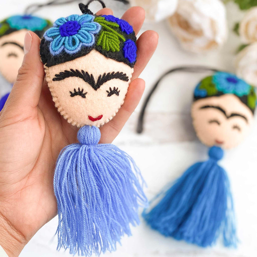Embroidered Frida Tassels - Yellow