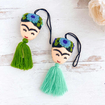 aerial view of embroidered frida tassels in green