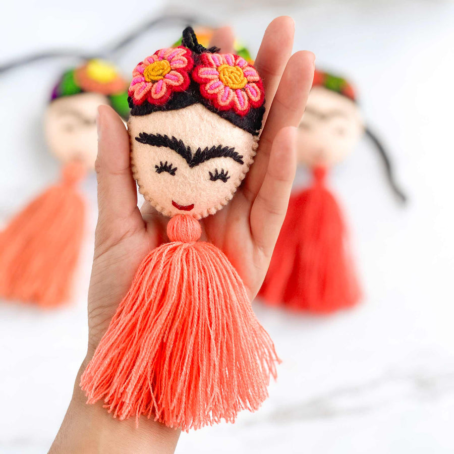 Embroidered Frida Tassels - Orange