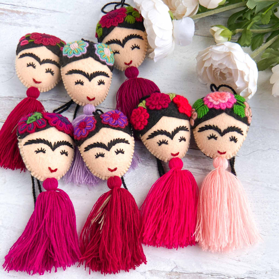 Embroidered Frida Tassels - Pink