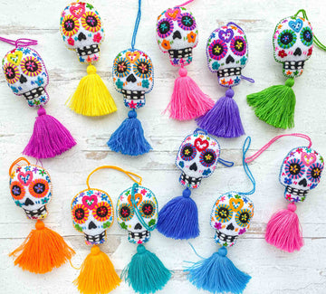 Hand-Embroidered-Sugar-Skull-Tassels--in-White