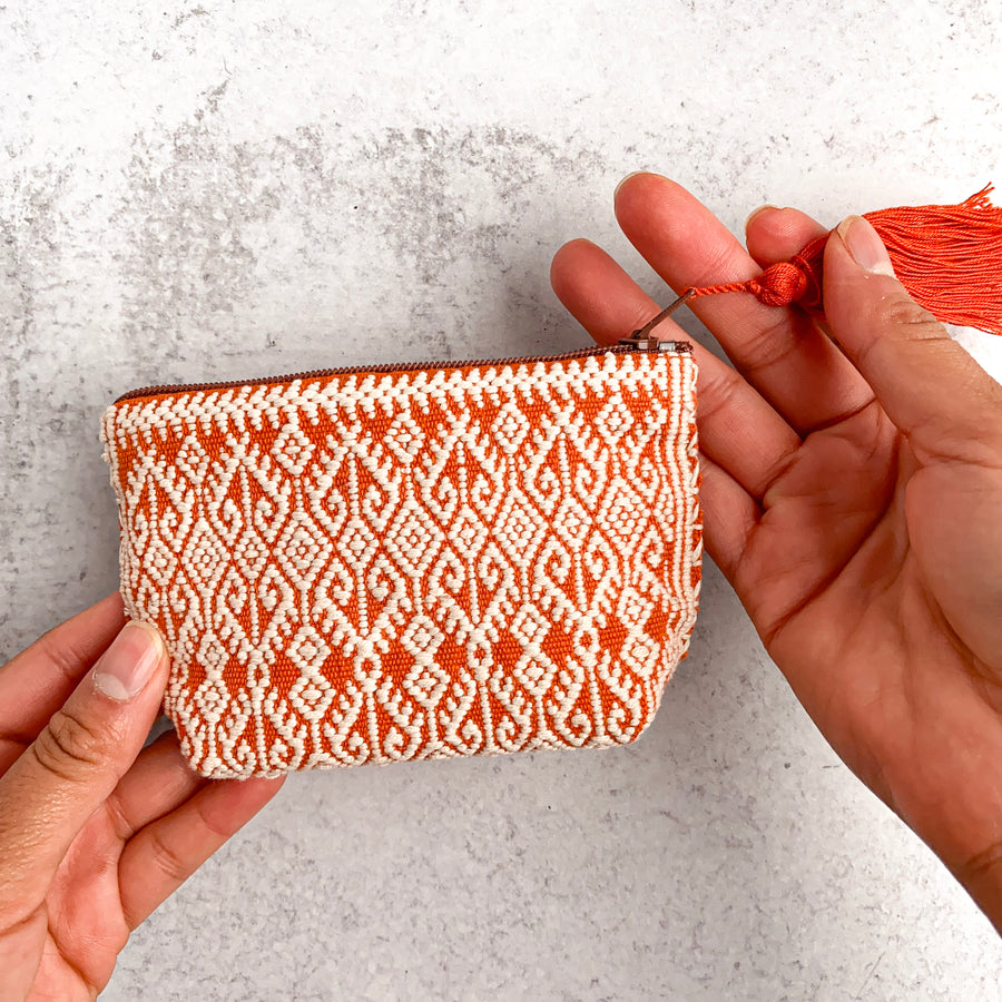 Handwoven Coin Purse with Tassel - Mandarina Orange