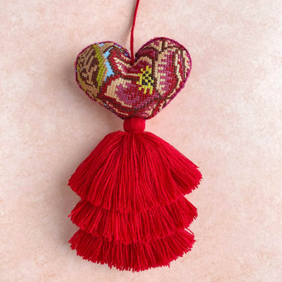 Limited Edition Pink Cross-Stitched Huipil Heart Tassels