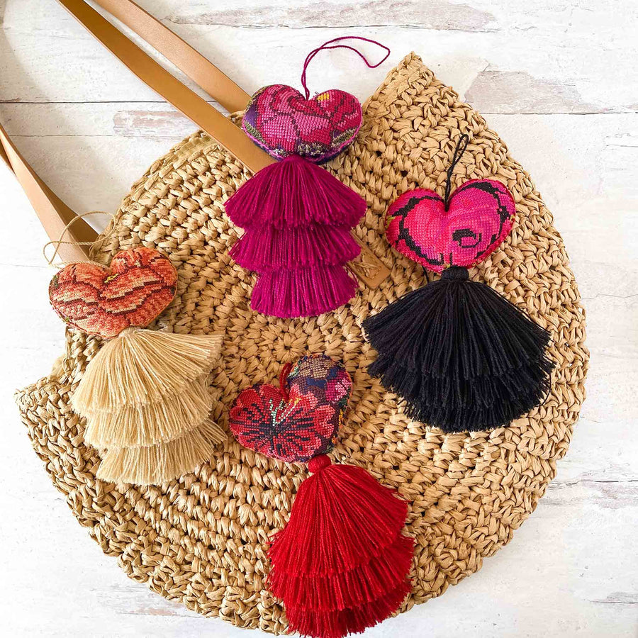 Cross-Stitched Huipil Heart Tassels