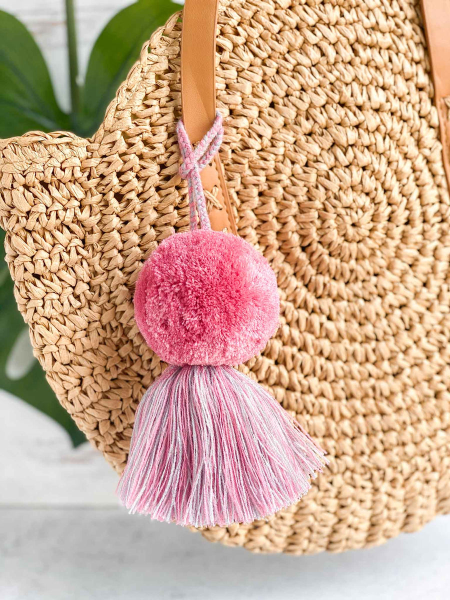 Lifestyle Handmade-Large-Pom-Tassel-for-Handbag in Pink