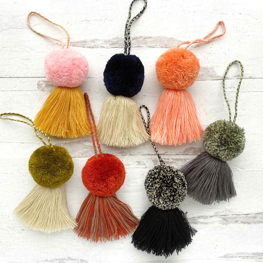 Aerial view of Xula Handmade Large Pom Pom Tassels in all colors available
