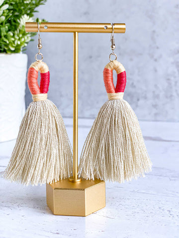 Loop Tassel Earrings - Flirty Coral