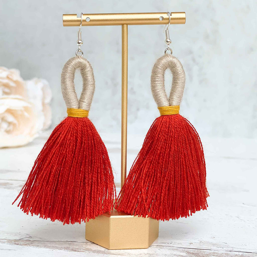 Elena Loop Tassel Earrings - Burnt Orange