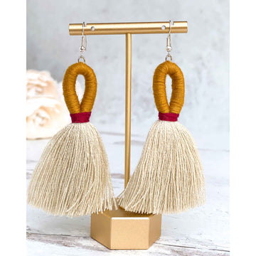Elena Loop Tassel Earrings - Cardinal Red