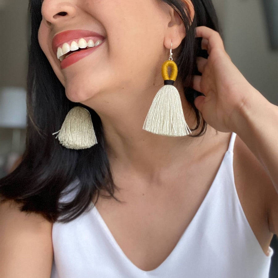 Elena Loop Tassel Earrings - Mustard Yellow + Black