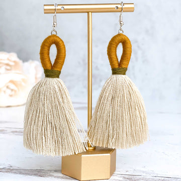 Elena Loop Tassel Earrings - Mustard Yellow + Olive