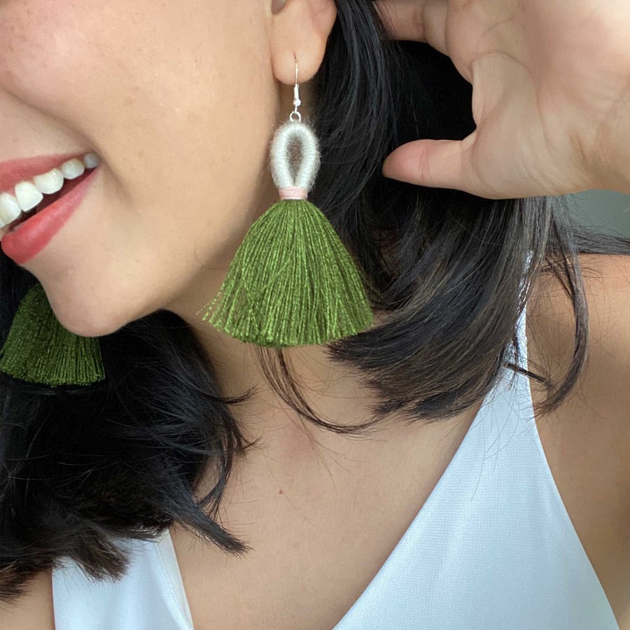 Elena Loop Tassel Earrings - Olive Green