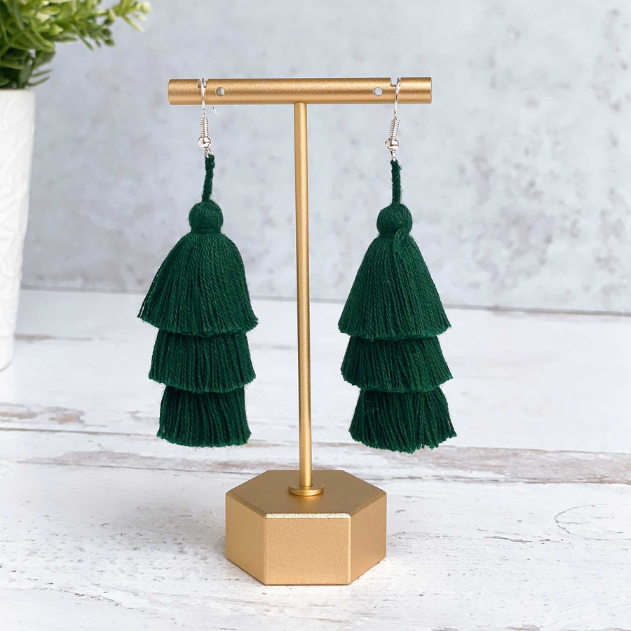 Tiered Tassel Earrings - Forest Green