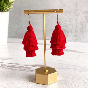 Tiered Tassel Earrings - Red