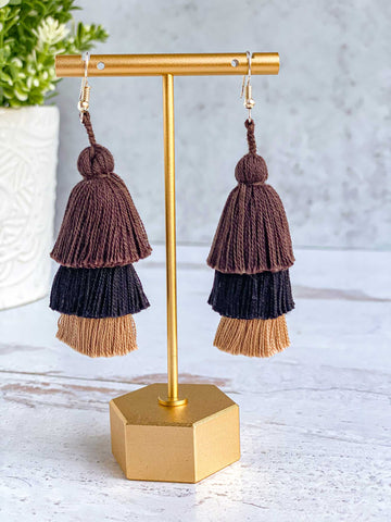 Handmade-Tiered-Tassel-Earrings-in-Brown