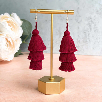 Tiered Tassel Earrings - Burgundy