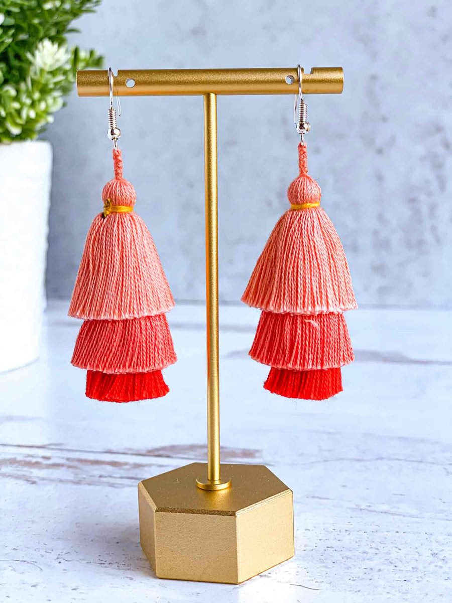 Handmade-Tiered-Tassel-Earrings-in-Coral-Pink