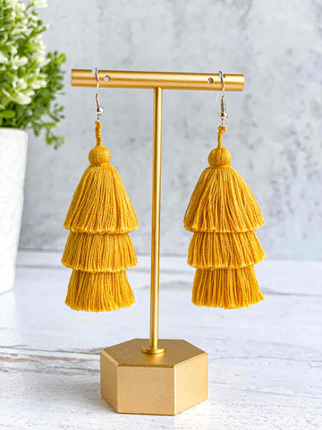 Handmade-Tiered-Tassel-Earrings-in-Golden-Yellow