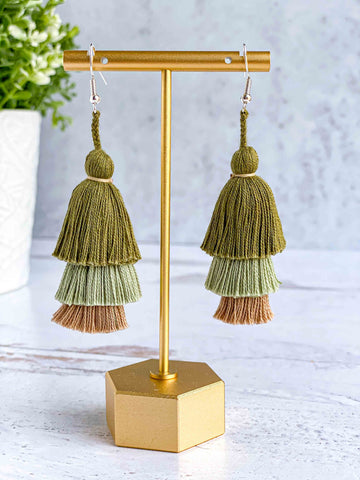 Handmade-Tiered-Tassel-Earrings-in-Military-Green
