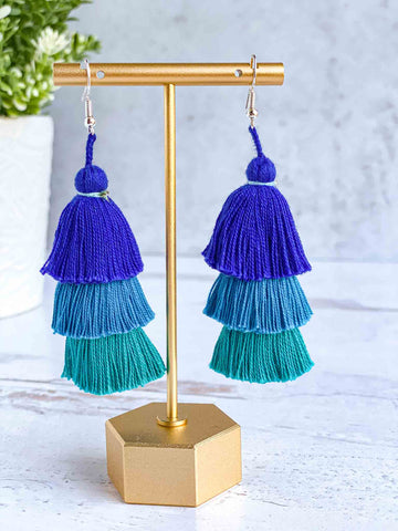 Handmade-Tiered-Tassel-Earrings-in-Sea-Blue