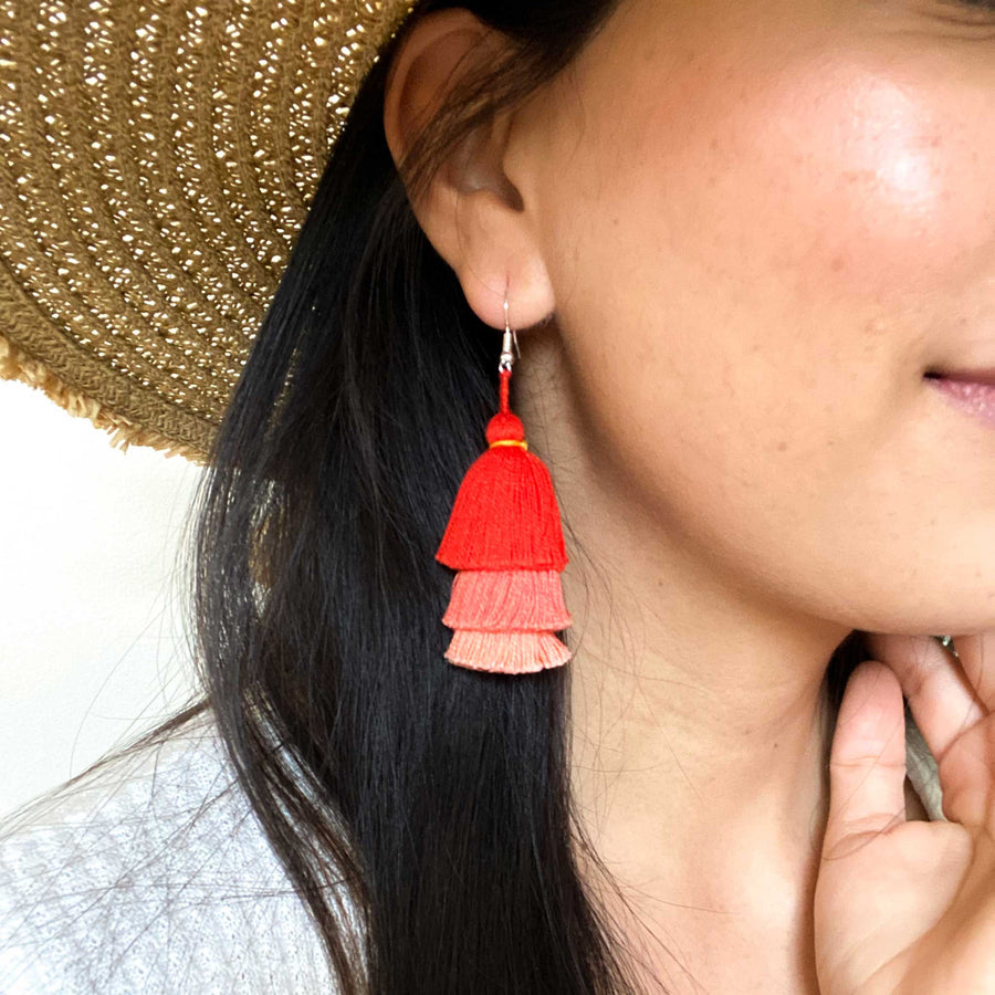 Tiered Tassel Earrings - Coral Pink