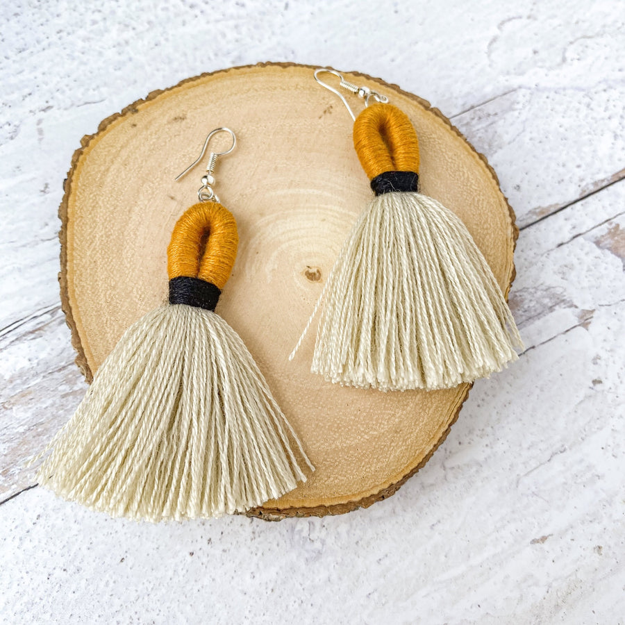 Handmade Loop Tassel Earrings in Mustard Yellow and Beige-2